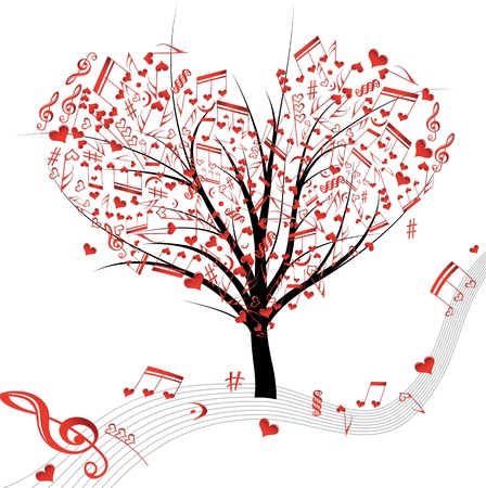 retro music: Music tree hearts note symbol vector on wave lines  Design love element  Valentine abstract background