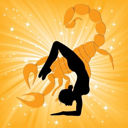 escorpio: La mujer en el deporte, yoga asana escorpión en la silueta Chica onda fondo posar delante del sol Element Energy medicina ilustración vectorial para el diseño