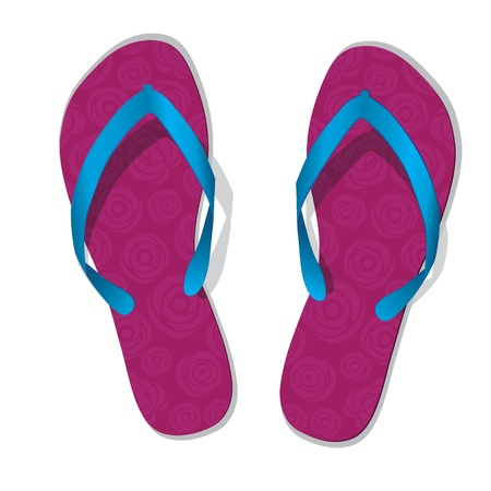 beach wear: Pair of flip flops  Vector slippers with flower  Pink beach shoes icon with roses isolated on white  Illustration