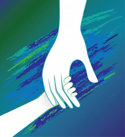 아버지의 격려 도움말에서 아이의 손입니다. 도덕적 지원합니다. 일러스트