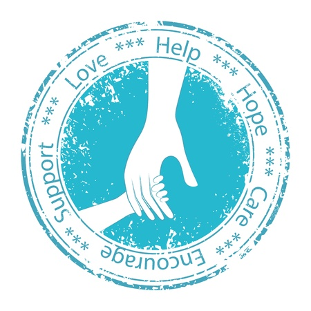 life support: Hand of the child in father encouragement help stamp  People support moral logo  Vector icon illustration  Element for design  Illustration