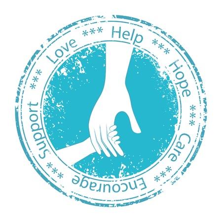 enfermeria: Mano del niño en las Personas padre ánimo de cupones de ayuda de vectores soporte moral logo icono ilustración Elemento para el diseño