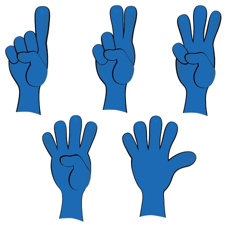 People hand collection, finger gestures, signals, signs  Vector icon set illustration  Иллюстрация
