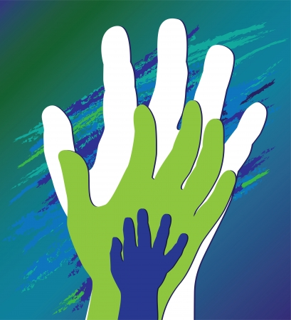 Hand of the child in father encouragement help. Support moral. Vector