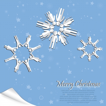 new generation: Family people origami christmas snowflake as symbol of generation with man, woman, children on paper background. element for design.