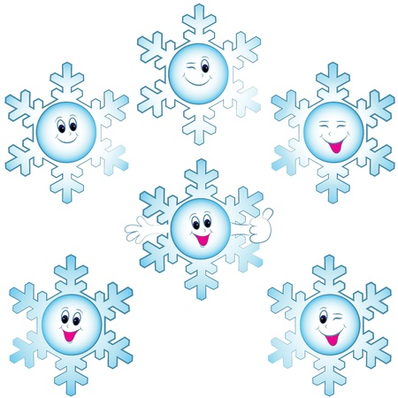 Christmas snowflakes icon set. Winter symbol illustration. Objects have faces with happy eyes, laughing smiles, easy to change color. Vector