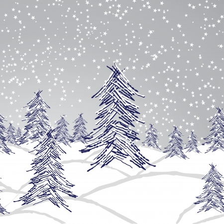 Winter christmas landscape, forest tree, snow background, seamless wallpaper. Vector