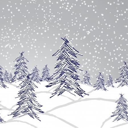 Winter kerst landschap, bos boom, sneeuw achtergrond, naadloos behang. Stock Illustratie