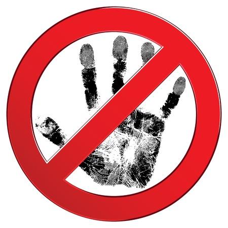 Aanmelden verboden kring met mensen de hand textuur. Niet aanraken. Verboden rode symbool, illustratie. Element voor ontwerp.
