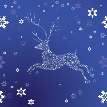 Christmas deer from snowflakes and stars on winter sky as symbol of xmas  Holiday background   design element  Vector