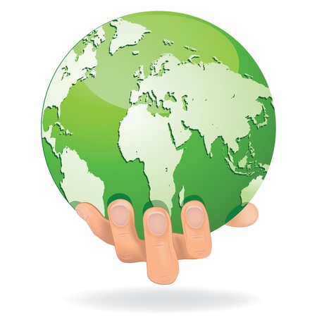 mani terra: Incoraggiare le mani salvare la Terra Globe pianeta protetto da persone verde Concetto di ecologia globale di design isolato su bianco