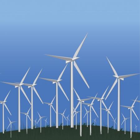 Wind Alternative energy station, seamless Green ecology concept, vector illustration