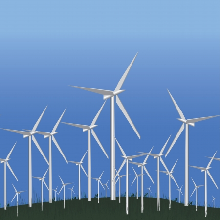 force of the wind: Wind Alternative energy station, seamless Green ecology concept, vector illustration