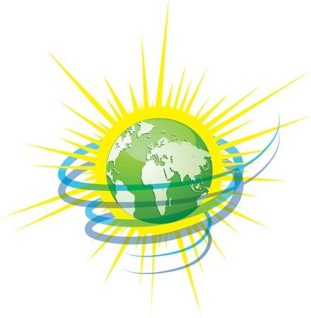 생태 아이콘 개념의 디자인 벡터 일러스트 레이 션의 소스로 녹색 지구 바람과 태양을 보호