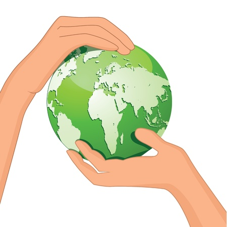 Encourage hands save planet Earth  Globe protected by people  Green global design  Ecology concept isolated on white  Vector