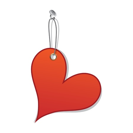 tack: Heart love tag as valentine day symbol. Vector banner design label on tack in hole on wall. Isolated on white. Illustration