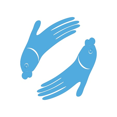 Fish hand design icon sign for Spa  Vector logo symbol illustration for fish massage  Encourage friendship of fish and people design  Isolated on white  Vector