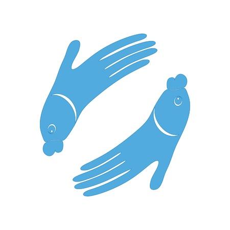 Vis de hand designicoon teken voor Spa Vector logo symbool illustratie voor vissen massage Stimuleer vriendschap van vis en de mensen ontwerp Geïsoleerd op wit Stock Illustratie