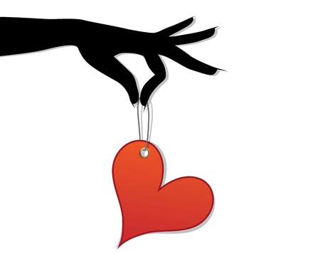 Woman hold love red heart in hand on white background illustration