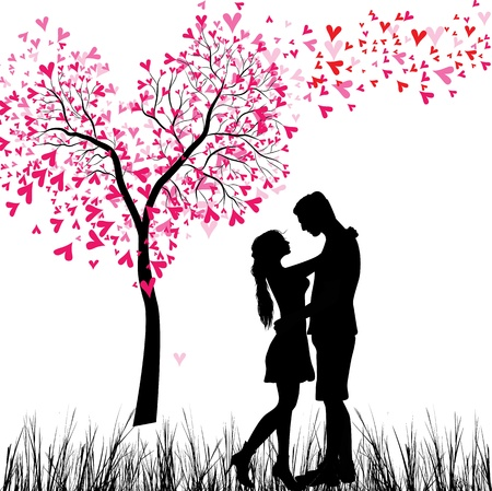 kiss: Man and woman in love  Valentine day background  Young Couple under the heart tree  Isolated on white