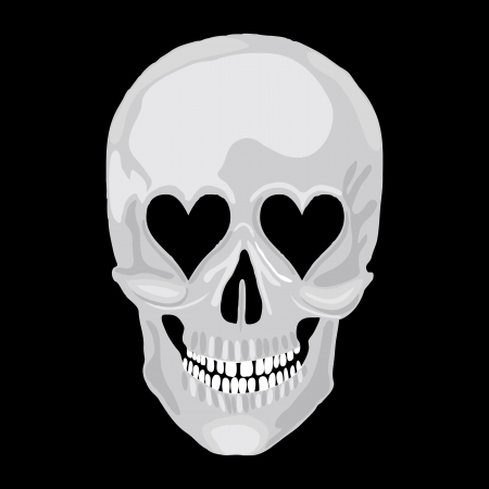 scull: Human skull with heart love eyes for valentine day  Vector object scull illustration  People bone design isolated on black background  Halloween symbol  Illustration