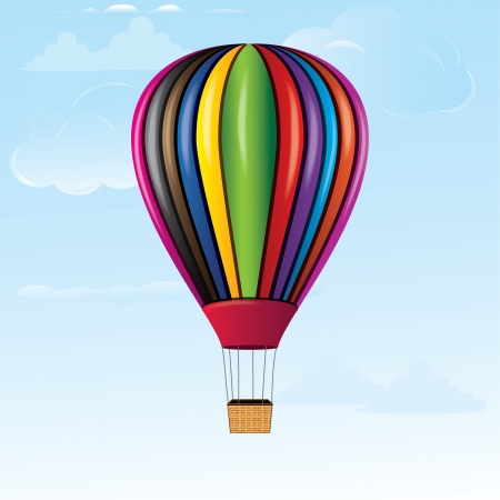 balon: Hot air balloon in sky with bamboo basket texture  Detailed vector icon illustration