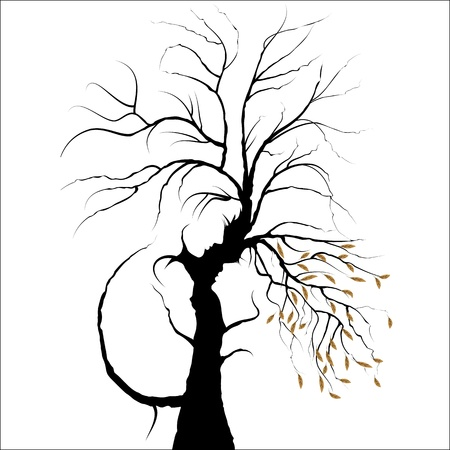 Valentine day background. Young couple shaped by tree. Man and woman in love. Isolated on white. Illustration