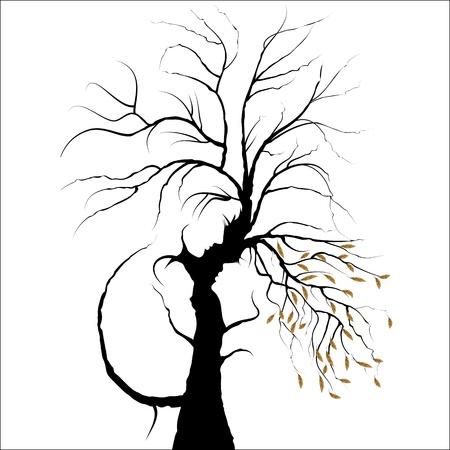 perfil de mujer rostro: Valentine day background. Joven pareja formada por árbol. El hombre y la mujer en el amor. Aislado en blanco.
