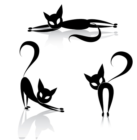 Black cat icon silhouette collection animal set sketch kitty logo isolated on white ЛОГОТИПЫ