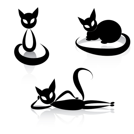 Black cat icon silhouette collection  animal set sketch kitty logo isolated on white  Stock Vector - 17450830