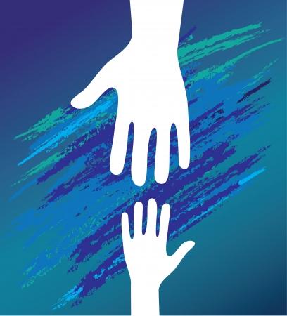 Hand van het kind in vader aanmoediging help Ondersteuning morele