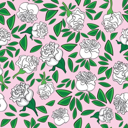 rose: Seamless flower background with colorful rose and leaves, element for design, vector illustration