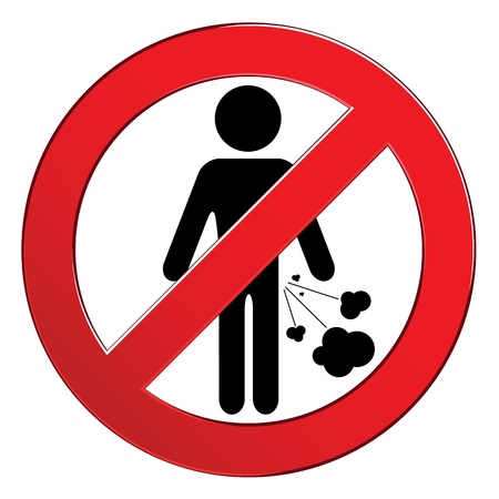 Forbid farting people sign circle. Prohibited red symbol isolated illustration. Vectores