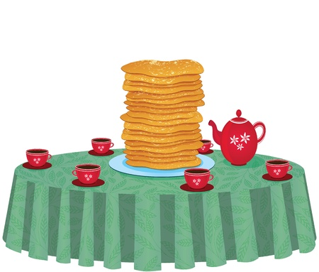 Pancakes in a dish on table with tea cups and kettle or teapot isolated on white background   Illustration