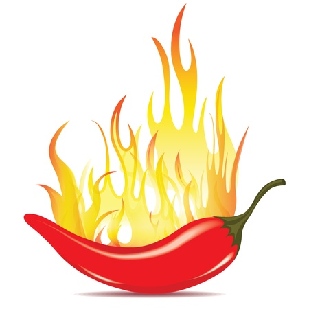 spicy chilli: Hot chilli pepper in energy fire. Vector icon isolated on white background. Burning red chili symbol of mexican culture.