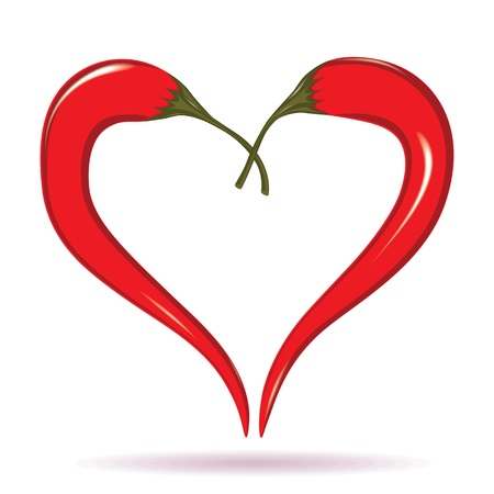 red chilli pepper plant: Heart of chili peppers. Hot  valentine love symbol to azian mexican cooking. Element for design isolated on white. Illustration