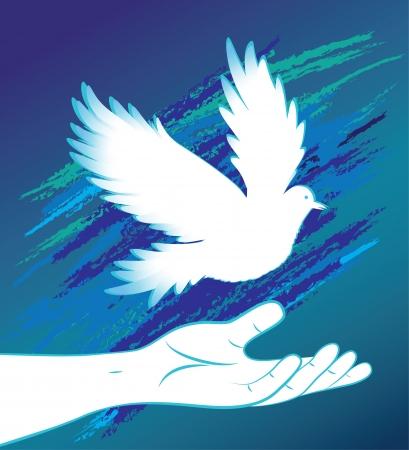 paloma de la paz: La gente de mano y el pájaro paloma, símbolo de la paloma de la paz, la ayuda médica de icono, el amor firme Ilustración vectorial