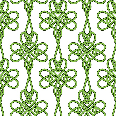 threeleaf: Seamless flower shamrock clover vector leaves background for St. Patricks Day. Irish illustration. Retro vintage keltik wallpaper. Texture vector illustration. Pattern celtic style. Illustration