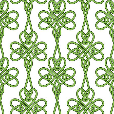 celtico: Senza soluzione di continuità fiore trifoglio trifoglio vettore foglie di sfondo per il giorno di San Patrizio. Illustrazione irlandese. Retro Vintage Keltik carta da parati. Texture illustrazione vettoriale. Modello stile celtico.