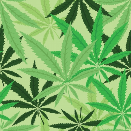 Green hemp floral seamless background, cannabis leaf background texture Illustration