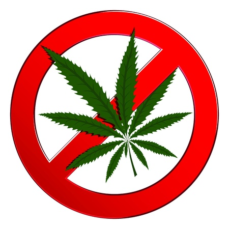 marihuana: Sign forbidden circle drug cannabis  Symbol no narcotic Illustration