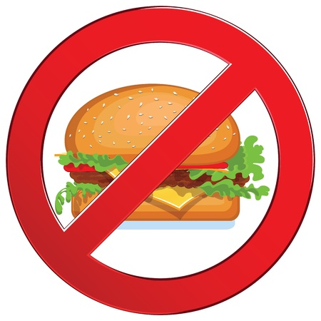 no icon: Sign forbidden fast food  Medical concept circle  Prohibited symbol isolated illustration