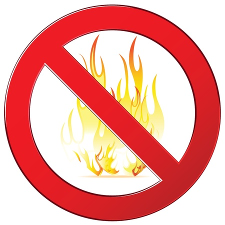 forewarn: Forbidding signs no fire, no camping fire sign. Isolated on white. Illustration