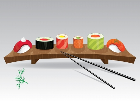 Food sea set  Sushi details of japanese cuisine - ingredients, fish, chopsticks and plate illustration   Vector