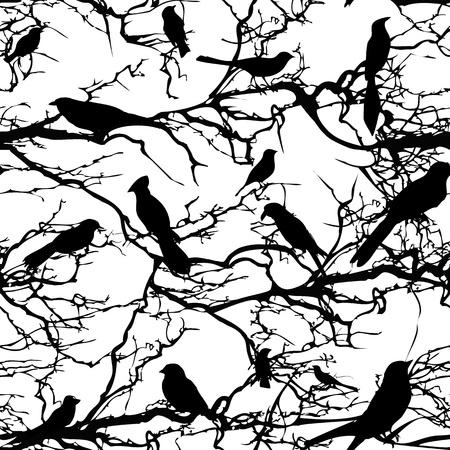 Seamless background pattern tree with birds nature illustration  Illustration