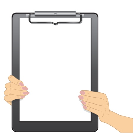 clipboard isolated: Woman hands holding a blank clipboard isolated on white background, write your text message. Vector illustration.