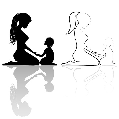 Mother and baby icon silhouettes. Woman family child protect vector. Line drawing. Sketch silhouette. Stock Vector - 18538262