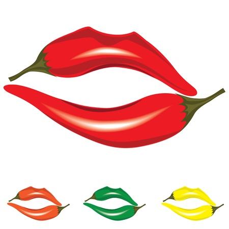 hot lips: Mujer labios como pimienta, objetos calientes icono beso, ilustraci�n aislado en blanco. Vectores