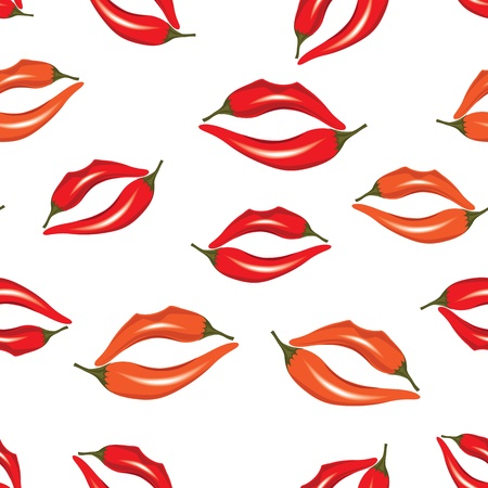 womanish: Woman lips as pepper, hot kiss seamless pattern, illustration isolated on white. Illustration