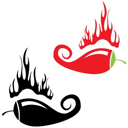 chili peppers: Red hot chili peppers icon on white background. Logo design. Vector illustration Illustration